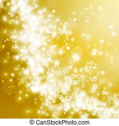 doré, résumé, fond, lumières