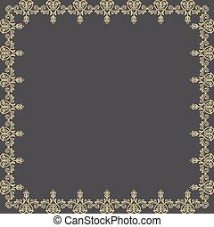 doré, résumé, pattern., vecteur, floral, cadre
