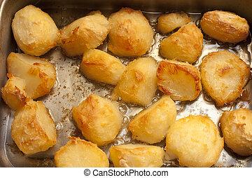 doré, rôti, fond, délicieux, pommes terre
