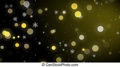 doré, render, arrière-plan., flocons neige, lumières, bokeh, noir, image, confetti, noël blanc, 3d