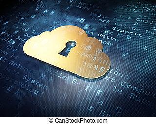 doré, render, fond, trou de la serrure, concept:, technologie numérique, nuage, 3d