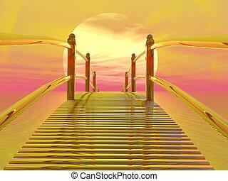 doré, render, pont, soleil, -, 3d