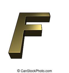 doré, rendu, f, -, lettre, police, 3d