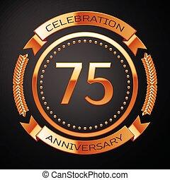 doré, ribbon., anniversaire, années, cinq, anneau, soixante-dix, célébration