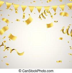 doré, ribbon., &, beaucoup, anniversaire, vecteur, luxe, confetti, tomber, celebration.