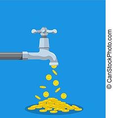 doré, robinet, pièces, métal, automne, dehors