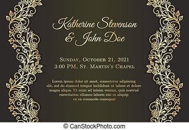 doré, romantique, mariage, ornement, noir, invitation, floral