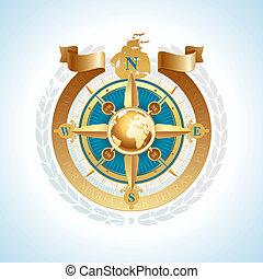 doré, rose, globe, vecteur, compas, ruban