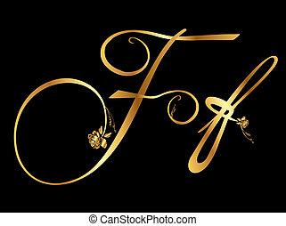 doré, roses, vecteur, lettre f