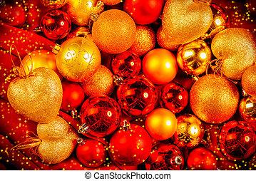 doré, rouges, jouets