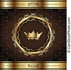 doré, royal, cadre, couronne, fond, orné, héraldique