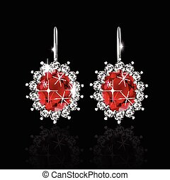 doré, rubis, boucles oreille, diamants