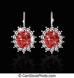doré, rubis, boucles oreille, diamants