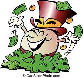 doré, séance, grand, illustration, vecteur, tas, argent, heureux, oeuf, dessin animé, mascotte