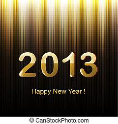 doré, salutation, année, nouveau, carte, heureux