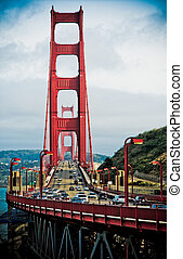 doré, san, californie, francisco, portail, pont
