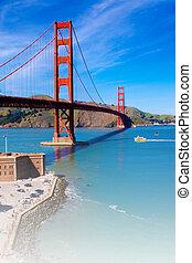 doré, san, usa, francisco, portail, californie, pont