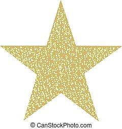 doré, scintillement, étoile, isolé