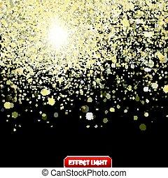 doré, scintillements, illustration, vecteur, arrière-plan noir, confetti, tomber, brillant