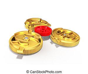 doré, signe, dollar, illustration, symbole, engrenages, livre, euro, 3d