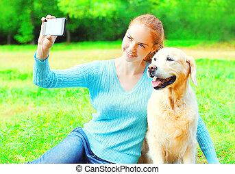 doré, smartphone, image, selfie, chien, jour, été, portrait, prendre, retriever