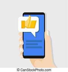 doré, smartphone, réseau, concept., haut, screen., pouces, tenue, social, message, main