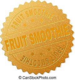 doré, smoothie fruit, écusson, timbre