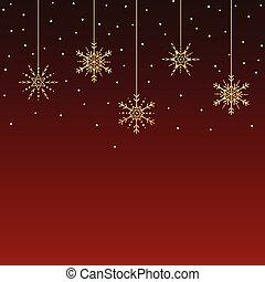 doré, snowflakes., vecteur, fond, pendre, noël