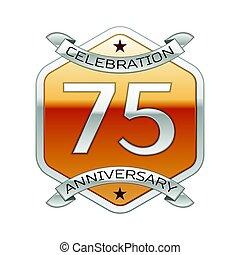 doré, soixante-dix, ornement, anniversaire, hexagonal, années, arrière-plan., cinq, logo, blanc, argent, ruban, célébration