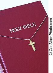 doré, sommet, bible, croix, rouges