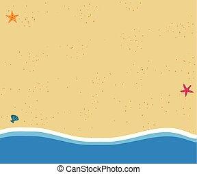 doré, sommet plat, vue, fond, icône, plage, sablonneux, design.