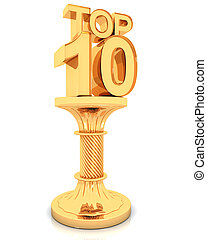doré, sommet, podium, 10