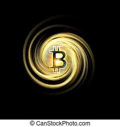 doré, sparks., réseau, lumière, concept., blockchain, bitcoin, illustration, symbole, cryptocurrency, arrière-plan., eclabousse, pair, symbole, galaxie, briller