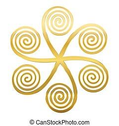doré, spirales, étoile