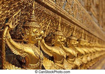 doré, statues, asiatique