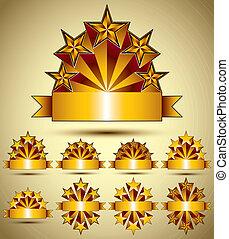 doré, style, classique, ensemble, collec, vecteur, cinq, étoiles, vide, bannières