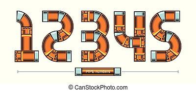 doré, style, ensemble, canaux transmission, vecteur, nombres, comique, 12345