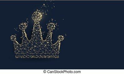 doré, style, particule, couronne, illustration, lignes, vecteur, triangles, design.
