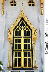 doré, style, thaï, fenêtre, temple