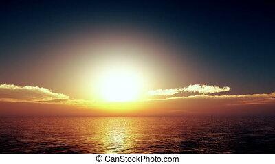 doré, sur, coucher soleil, 4k, mer