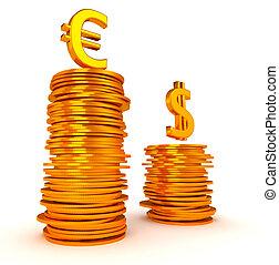 doré, sur, pièces, dollar, symboles, piles, euro