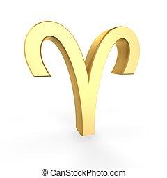 doré, symbole, zodiaque, bélier