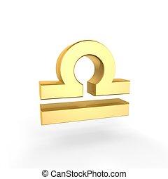doré, symbole, zodiaque