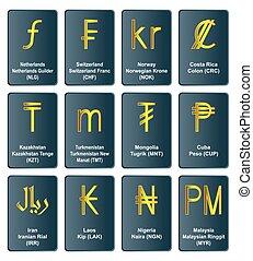 doré, symboles monétaires, de, monde