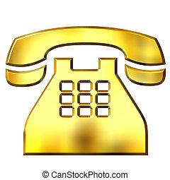 doré, téléphone, 3d