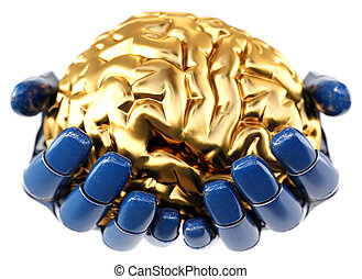 doré, tenant main, cerveau, humain, robotique