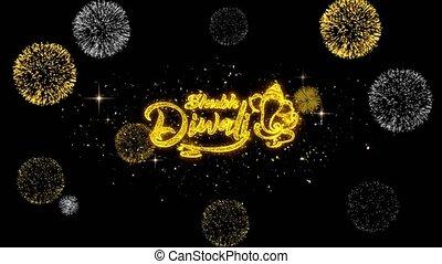 doré, texte, diwali, feux artifice, clignotant, shubh, ...