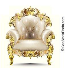doré, textile., fauteuil, luxueux, réaliste, vecteur, découpé, ornements, designs., baroque, doux, 3d