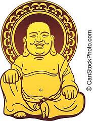 doré, thaï, bouddha, statue