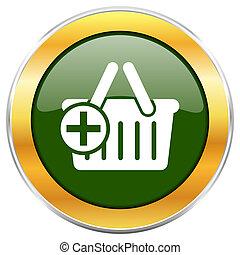 doré, toile, chrome, apps, isolé, charrette, métallique, mobile, designers., vert, lustré, fond, blanc, frontière, rond, icône